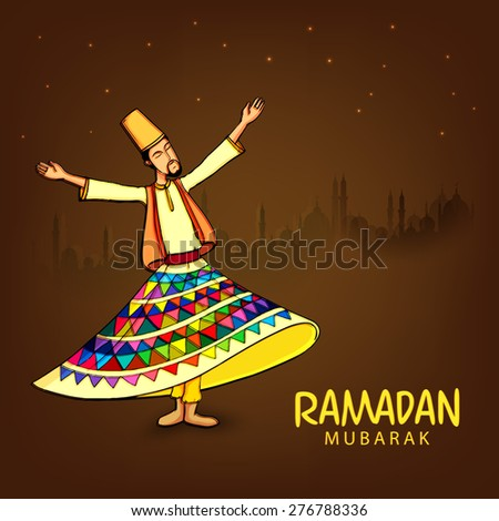 Whirling dervish performing religious dance on mosque silhouetted background for holy month of prayers Ramadan Kareem celebrations.  - stock vector