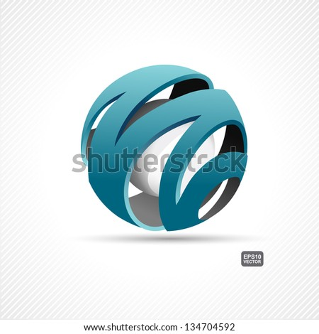 whirling sphere with sphere inside - stock vector