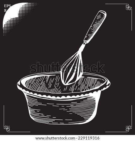 Whisk. Culinary whipped methods. Creme Chantilly. Equipment for cookery. Drawing with chalk. Cooking implements. Cooking steps. Methods of Cooking. Process of cookery. Eps 8 - stock vector