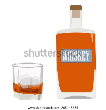 Whiskey bottle and glass with ice vector, alcohol beverage - stock vector