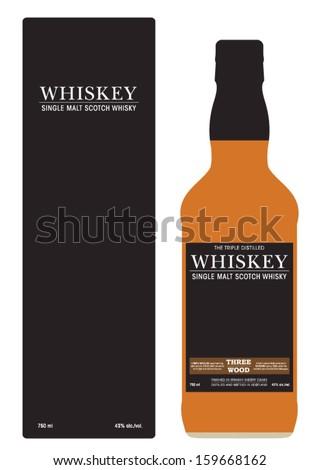Whiskey Bottle Design and Packaging - stock vector