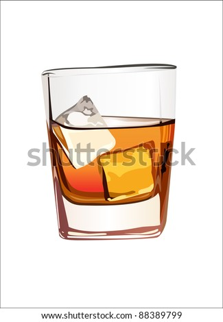 Whiskey in glass with ice isolated on white. Vector - stock vector
