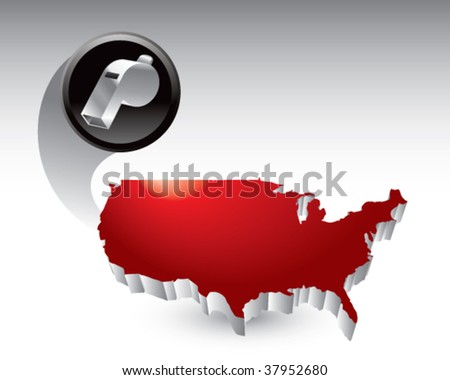 whistle flying across the usa - stock vector