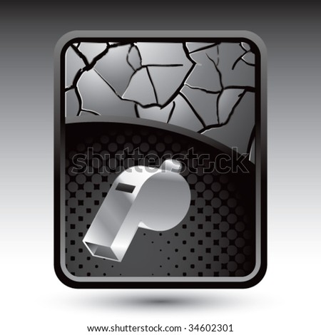 whistle on cracked background - stock vector