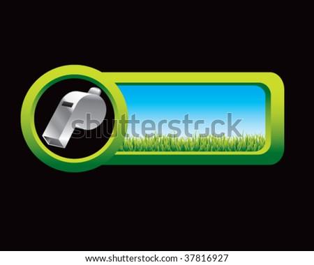 whistle on web button - stock vector