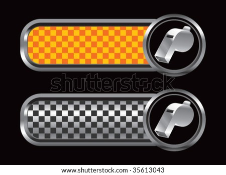 whistles on diamond textured banners - stock vector