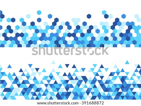 White abstract banners set with blue figures. Vector illustration. - stock vector