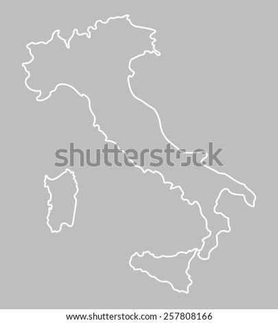 white abstract outline of Italy map   - stock vector