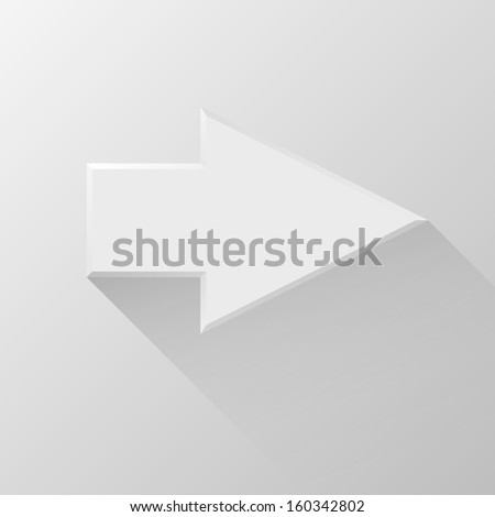 White abstract right arrow sign with flat designed shadow and light background for internet sites, web user interfaces (ui), applications (apps) and business presentations. Vector illustration.