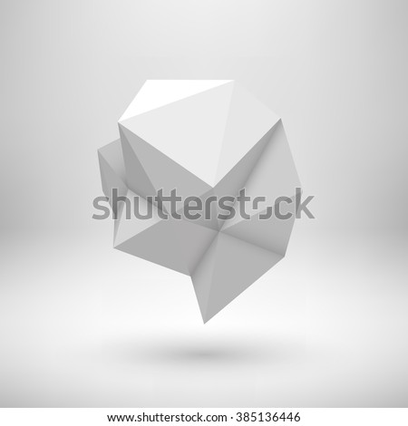 White abstract shape with low-poly, polygonal triangular mosaic texture and realistic shadow for logo, design concepts, web, presentations and prints. Realistic 3D render design. Vector illustration.  - stock vector