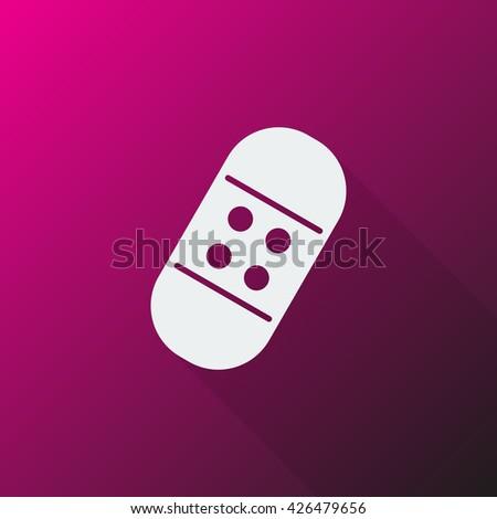 White Adhesive Bandage icon on pink background - stock vector