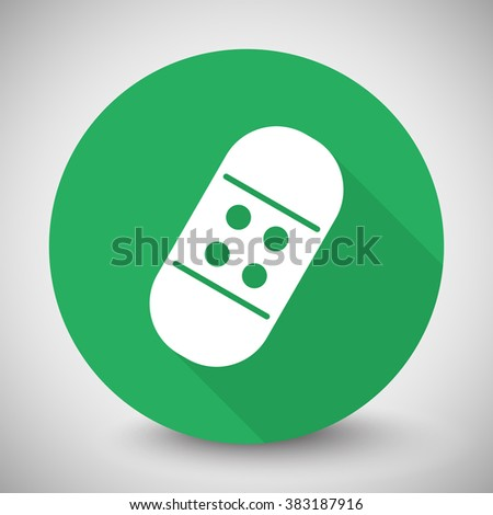 White Adhesive Bandage icon with long shadow on green circle - stock vector