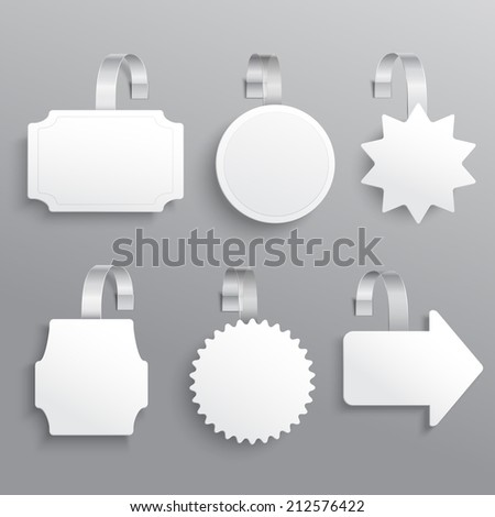 White advertising sale hanging wobbler set isolated vector illustration - stock vector