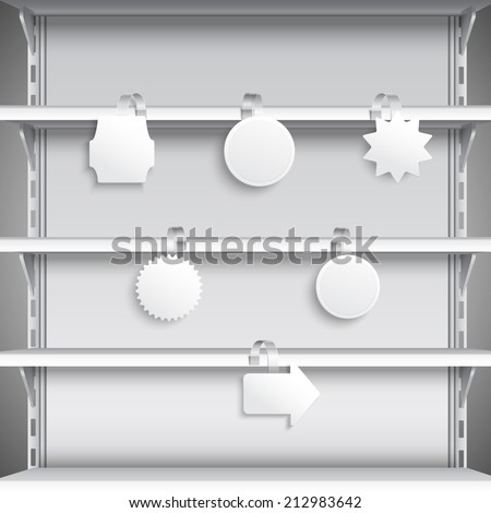 White advertising sale wobblers hanging on supermarket shelves vector illustration - stock vector