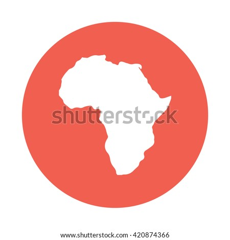 White Africa / Continent icon vector illustration red circle / button - stock vector