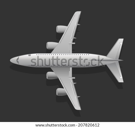White Airplane - stock vector