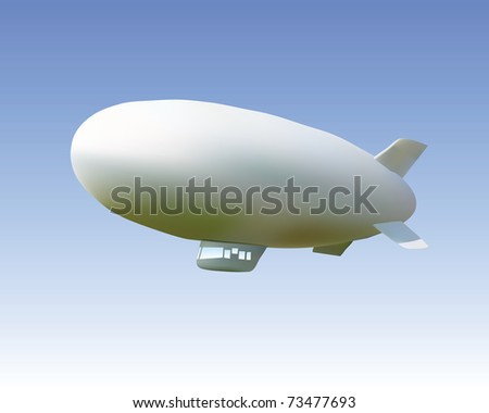 white airship against the blue sky - stock vector