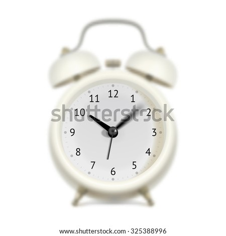 White alarm clock with moving sweep-second hand, minute hand and hour hand. Blurred clock body. Time flying concept - stock vector