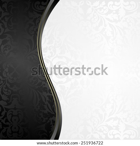 white and black background with vintage pattern - stock vector