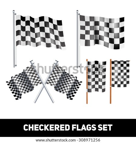 White and black checkered flags on shaft and pole realistic color decorative icon set isolated vector illustration   - stock vector