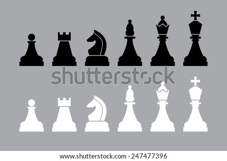 white and black chess pieces. vector set - stock vector