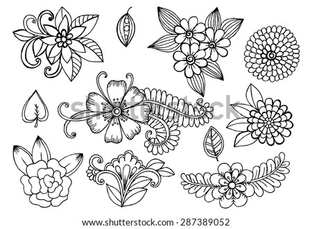 White and black doodle floral set. Design elements for your ideas - stock vector