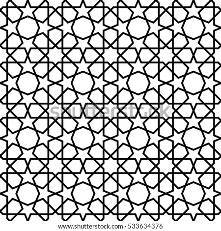 white and black mosaic moroccan zellige seamless. vector illustration