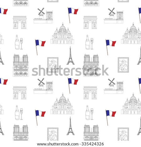 White and black Paris vector seamless pattern hand-drawn landmarks illustration colored background - stock vector