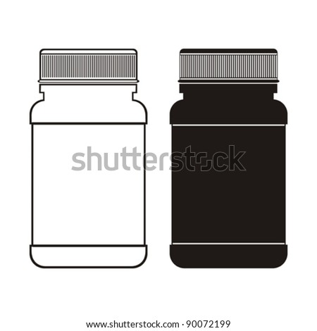 white and black pill bottle on white background.  Vector Illustration - stock vector