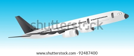 white and black plane over blue background. vector illustration