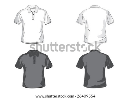 White and black polo shirt design template with front and back. - stock vector
