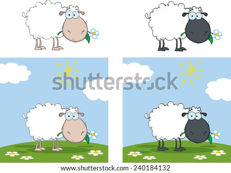 White And Black Sheep Cartoon Character Eating A Flower. Vector Collection Set - stock vector