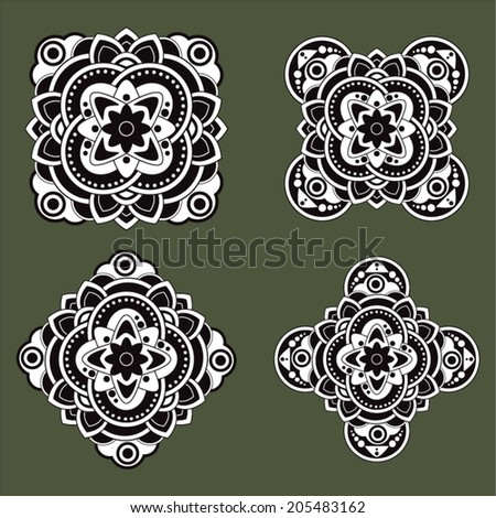 White and black tattoo vector design elements