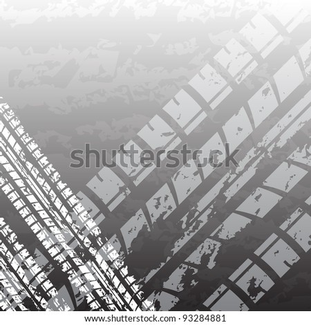 White and black tire track background - stock vector