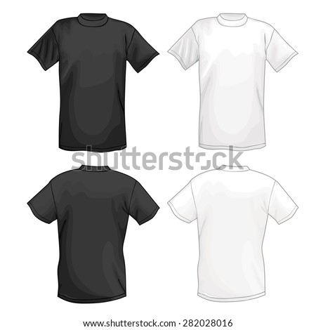 White and black vector T-shirt design template (front & back). Vector illustration isolated on white background - stock vector