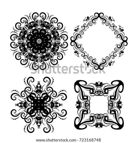 White Black Vintage Frames Scroll Elements Floral Stock Vector ...