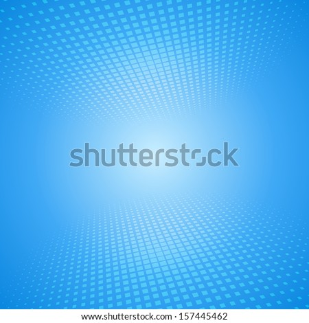 White and blue abstract perspective background with squares - stock vector