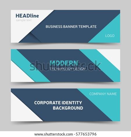 collection blue horizontal business banner set stock vector 435879331 shutterstock. Black Bedroom Furniture Sets. Home Design Ideas