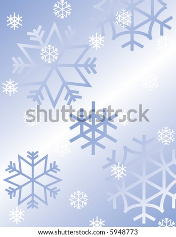 White and blue snow flakes