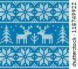 White and blue sweater with deer vector seamless pattern - stock photo