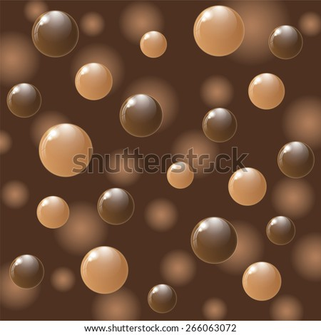 White and dark chocolate balls on colorful background. Vector illustration. - stock vector
