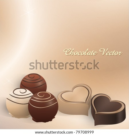 White and dark chocolate pralines in different shapes - stock vector