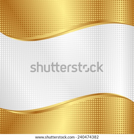 white and gold background with grid texture - stock vector