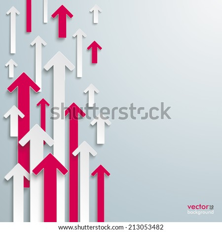 White and pink arrows on the grey background. Eps 10 vector file. - stock vector