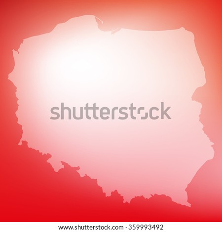 White and red background with shape of Poland.Vector illustration - stock vector