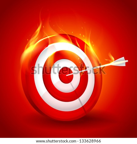 White and red burning target design. Eps10. - stock vector