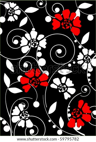 White and red flowers on a black background - stock vector