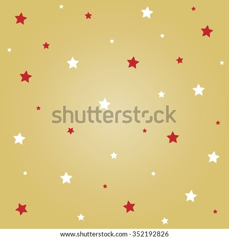 White and red stars with gold background for Christmas festival. - stock vector