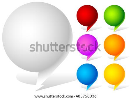 White and six vivid color speech, talk bubbles