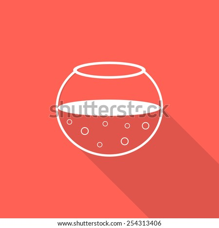 white aquarium icon with long shadow. concept of pets, pet-shop, brand pet store, fishtank, aquarium tank. isolated on red background. flat style trendy modern logotype design vector illustration - stock vector